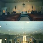Sanctuary before and after renovation.  Effects achieved with paint only, applied to the structure's cinder block wall..