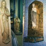 Sanctuary statue repaired and painted, installed on custom metal-leaf panel.