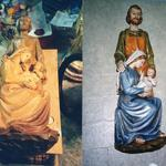 Holy Family wall plaque, before and after repair and restoration.