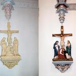 Stations of the Cross repaired and painted.  Key architectural elements highlighted with faux marble, metal leaf and solid color selection.