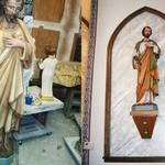 Sanctuary statue repaired and painted.  Faux marble applied to wall panel.