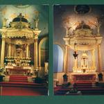 Sanctuary, before and after renovation.  Gold metal highlights.