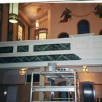 Faux marble on choir loft panels.  Wall icons restored.  Faux mosaic on ceiling panels.