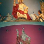 Sanctuary ceiling mural, before and after renovation.  Face of Christ was humanized, angels added, background lightened.