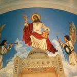 Sanctuary ceiling mural after renovation.