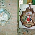 Stations of the Cross repaired and repainted.  Burnished copper applied to frame.